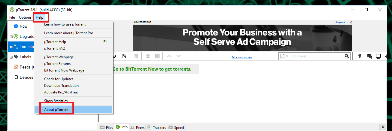 utorrent version about